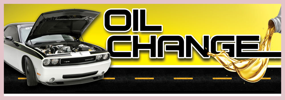 OIL CHANGE banner sign 3x8ft