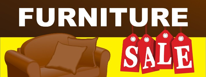Furniture Sale large 3x8ft color banner sign yellow brown red