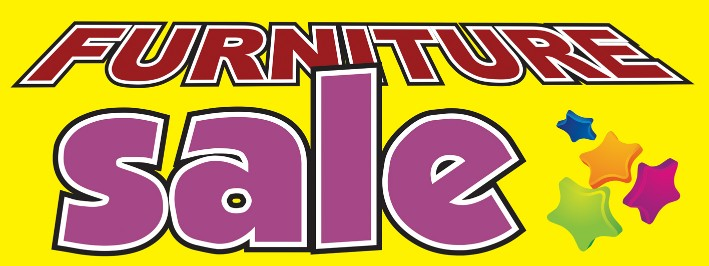 Furniture Sale large 3x8ft color banner sign yellow stars