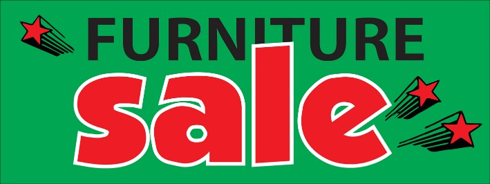 Furniture Sale large 3x8ft color banner sign green red