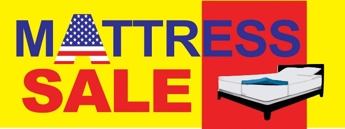 Mattress Sale large 3x8ft full color banner sign yellow red