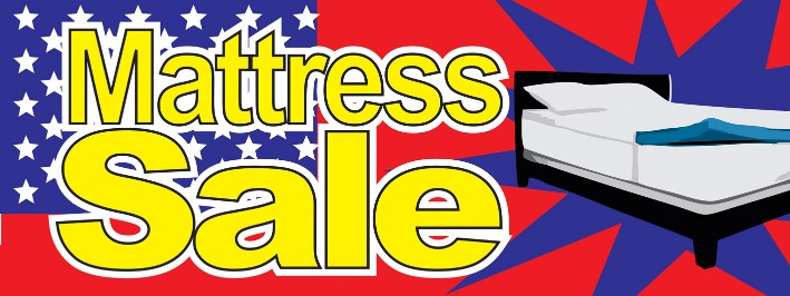 Mattress Sale large 3x8ft full color banner sign stars red