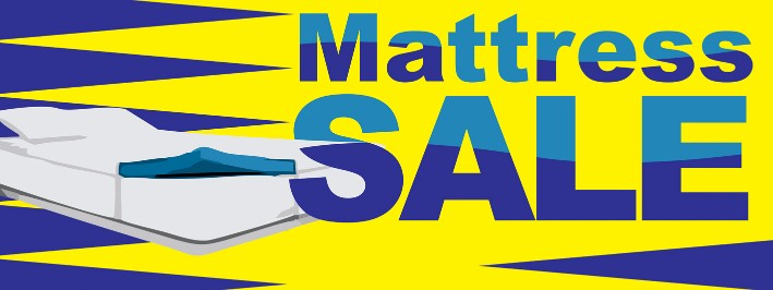 Mattress Sale large 3x8ft full color banner sign yellow blue