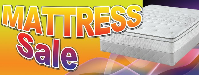 Mattress Sale large 3x8ft full color banner sign y/r/bl
