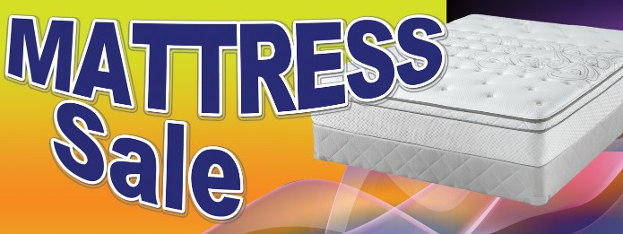 Mattress Sale large 3x8ft full color banner sign y/r/bl/b