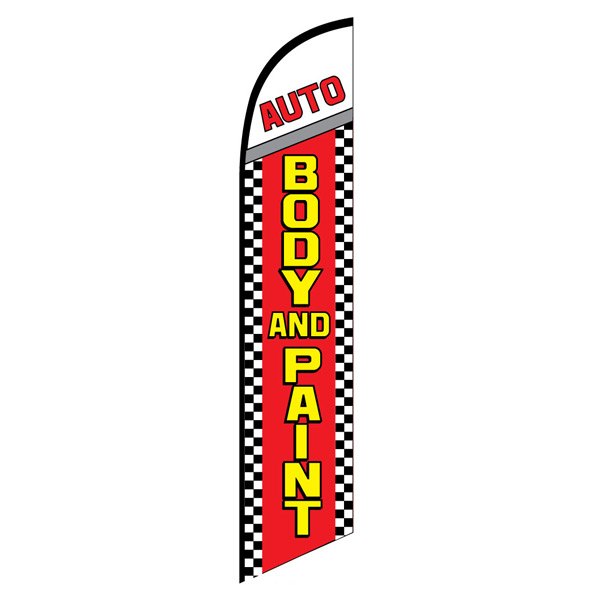 Auto body paint service swooper feather banner flag
