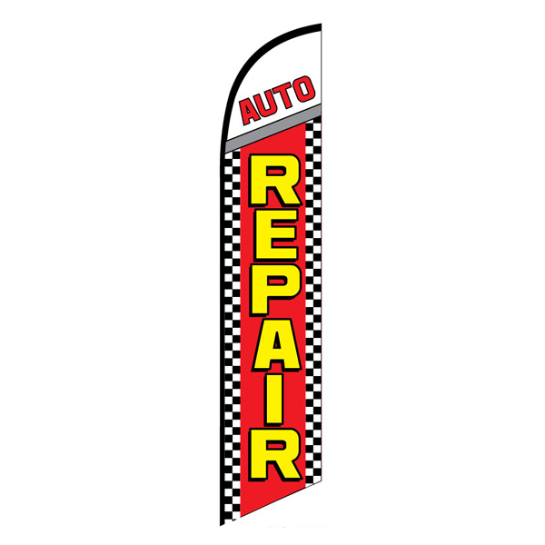 Auto repair service swooper feather banner flag