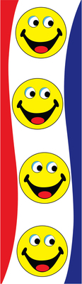 Happy faces vertical flag 2x8ft