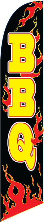 Barbeque bbq flames swooper feather banner flag