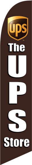 UPS store company full sleeve swooper feather sign flag