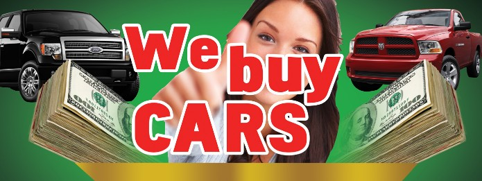 WE BUY CARS banner sign 3x8ft