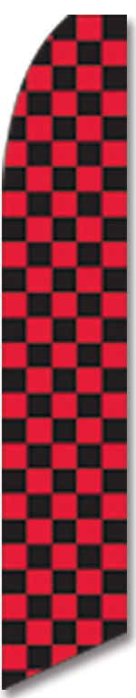 Checkered black/red swooper flag