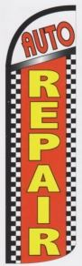 Auto repair super size swooper feather flag banner checkered